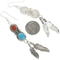 Coral Feather Indian Earrings 29460