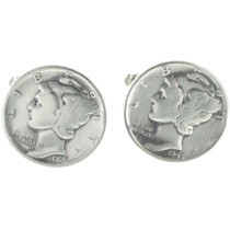 Antique Dime Silver Cuff Links 19619