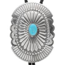 Turquoise Silver Concho Bolo Tie 22586