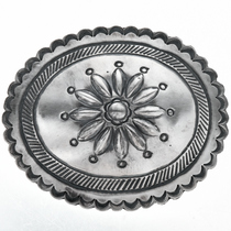Native American Hammered Silver Belt Buckle 0349