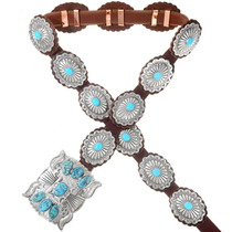Navajo Silver Turquoise Concho Belt 23891