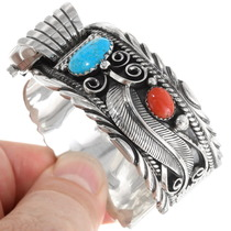 Ladies Turquoise Coral Cuff Watch 24429