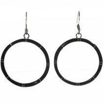 Jet Sterling Hoop Earrings 19649