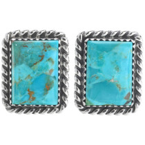 Kingman Turquoise Silver Earrings 28521