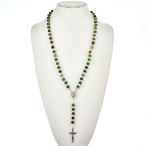 Navajo Jade Agate Bead Rosary Necklace 21562