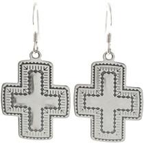 Navajo Silver Cross Earrings 23644