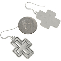 Hammered Sterling Silver Cross Earrings 23644