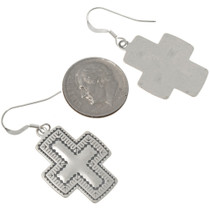Hammered Sterling Silver Cross Earrings 23644