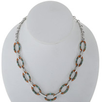 Inlaid Turquoise Gaspeite Link Necklace 27716