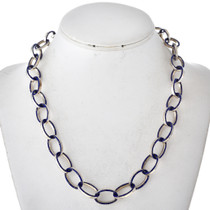 Inlaid Silver Blue Lapis Link Necklace 29622