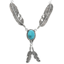 Navajo Silver Y Feather Necklace 27624