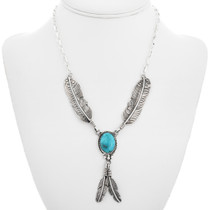 Kingman Turquoise Silver Y Feather Necklace 27624