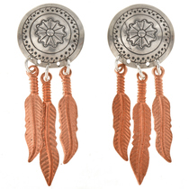 Navajo Silver Concho Copper Earrings 23859