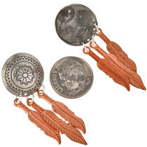 Silver Concho Feather Post Dangles 23859