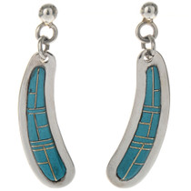 Genuine Turquoise Inlaid Silver Earrings 29377
