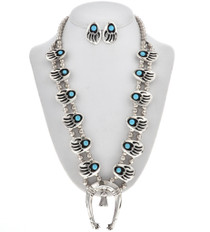 Turquoise Squash Blossom Necklace Set 28595