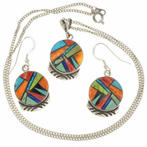 Turquoise and Spiny Oyster Silver Pendant Set 27055