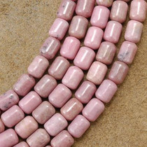 6mm by 8mm Rhodochrosite Beads 16 inch Strand