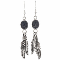 Black Onyx Silver Navajo Earrings 29405