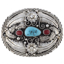 Turquoise Coral Belt Buckle 24700