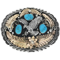 Gold Silver Eagle Navajo Belt Buckle 29498