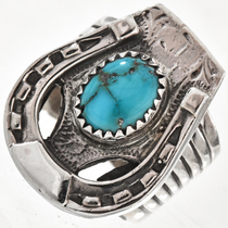 Turquoise Silver Horseshoe Mens Ring 29768