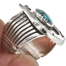 Navajo Turquoise Silver Mens Ring 29768
