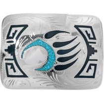 Inlaid Turquoise Silver Belt Buckle 24077