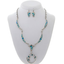 Inlaid Silver Turquoise Gecko Necklace 27949
