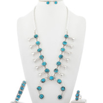 Turquoise Squash Blossom Necklace Set 27878