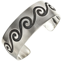 Hopi Wave Pattern Overlaid Silver Cuff  29670