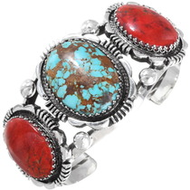 Number 8 Turquoise Apple Coral Navajo Cuff 14327