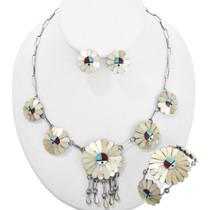 Sunface Turquoise Shell Necklace Set 29123