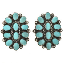 Turquoise Cluster Silver Post Earrings 28848