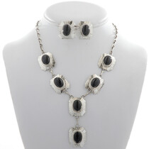 Black Onyx Silver Y Necklace Set 27735