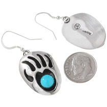 Silver Bear Paw Native American Earrings 28543
