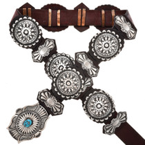 Kingman Turquoise Sterling Concho Belt 29609