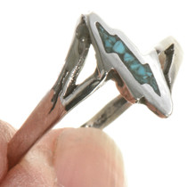 Inlaid Silver Turquoise Ladies Ring 28819