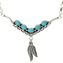 Navajo Genuine Turquoise Silver Necklace 29254