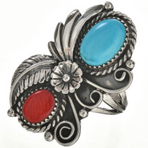 Turquoise Coral Silver Ring 28970