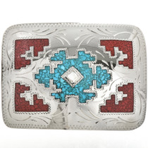 Turquoise Coral Chip Inlay Belt Buckle 32663