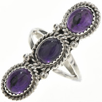Amethyst Silver Pointer Ring 29108