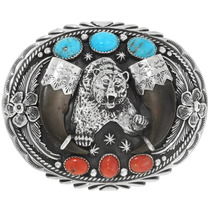 Large Navajo Turquoise Bear Claw Belt Buckle 29605