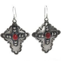 Coral Silver Cross Native American Earrings 28849