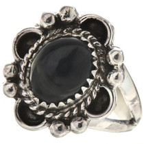 Navajo Black Onyx Silver Ring 28596