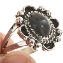 Ladies Black Onyx Silver Ring 28596
