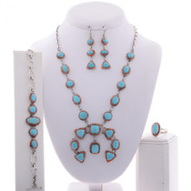 Blue Turquoise Spiny Oyster Necklace Set 28002