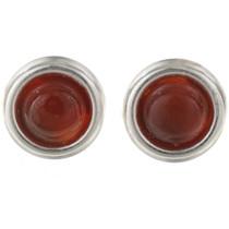 Carnelian Silver Stud Earrings 28004