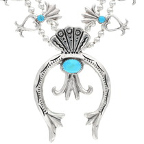 Blue Turquoise Silver Squash Blossom Necklace 29778