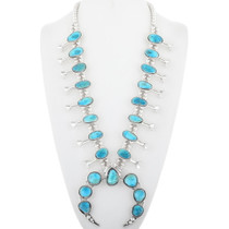 Navajo Turquoise Squash Blossom Necklace 29821